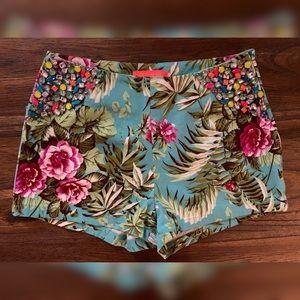 Lulumari Tropical Print Embellished Shorts